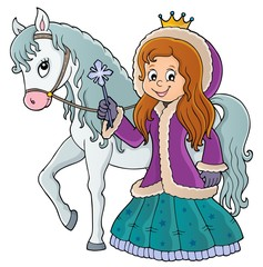 Fotobehang Voor kinderen Winter princess with horse image 1