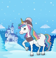 Photo sur Aluminium Enfants Winter unicorn theme image 3