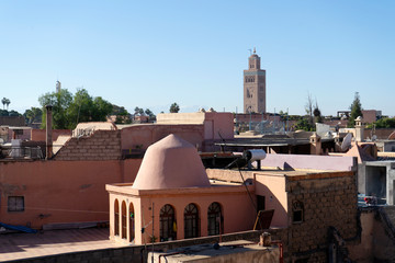 Wall Mural - Old town of Marrakech from roof top , Morocco