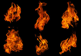 Foto op Textielframe Vuur Fire collection set of flame burning isolated on dark background for graphic design purpose