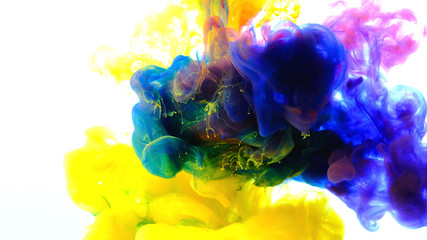 Fototapete - Color paint drops in water , abstract color mix , drop of Ink color mix paint falling on water Colorful ink in water,