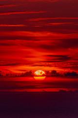 Foto auf Leinwand Braun Fiery orange sunset sky. Beautiful sky.