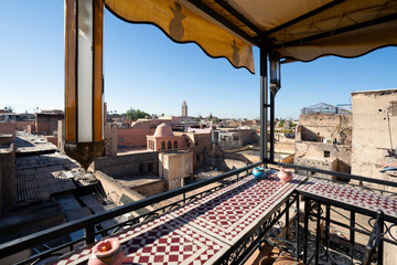 Wall Mural - Old town of Marrakech from roof top, Morocco