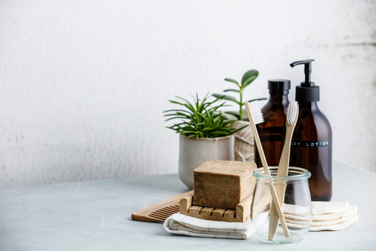 Zero waste, Recycle, Reuse, Sustainable lifestyle concept. Eco-friendly bathroom accessories