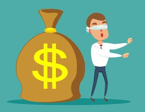 Cartoon blind businessmen can not find money lying on the ground. Vector flat design illustration.