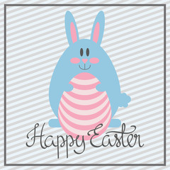 Happy Easter greeting card with bunny on grey line pattern