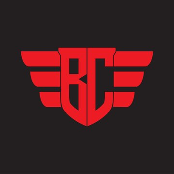 BC Logo monogram with emblem and wings element design template on red colors