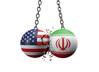 USA and Iran balls smashing together. Political conflict concept . 3D Rendering