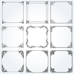 Frames and borders square decorative set vector