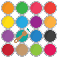 colorful cans of paint and brush icon- vector illustration