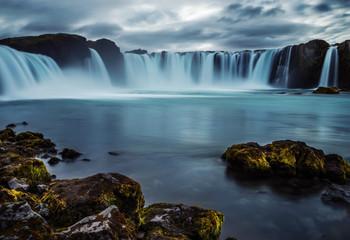 Printed bathroom splashbacks Cascades of waterfalls dropping down from the cliffs. Long exposure. tslandtya. A beautiful waterfall, frozen motion of water streams on a long exposure. The most visited waterfall in Iceland. Waterfa