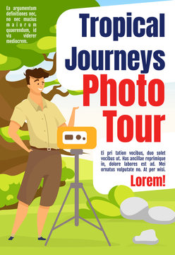 Tropical journeys photo tour magazine cover template. Tourism, expedition. Journal mockup design. Vector page layout with flat character. Adventure advertising cartoon illustration with text space