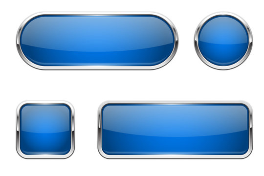 Web buttons. Blue shiny icons with chrome frame