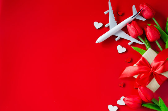 Travel planning on Valentines Day or Mothers Day. Travel concept, mockup.