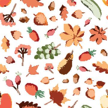 Autumn harvest vector seamless pattern
