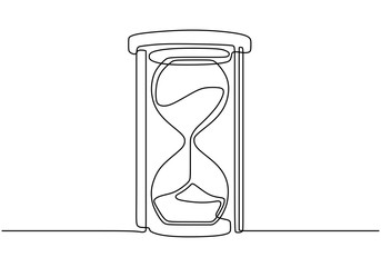 One continuous line drawing of hourglass vector. Hand drawn clock sketch minimalism design.