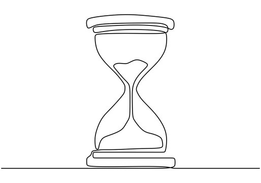 One continuous line drawing of hourglass minimalism vector illustration. Time count concept isolated on white background.