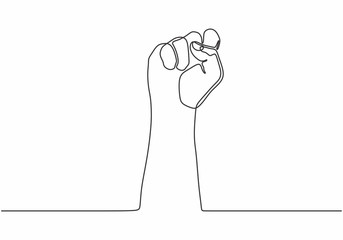 continuous line drawing of fist hand. One hand drawn minimalism rebel, freedom and protest theme.