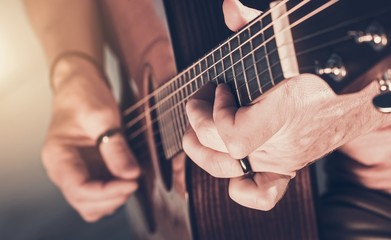 Fototapete - Acoustic Guitar Play