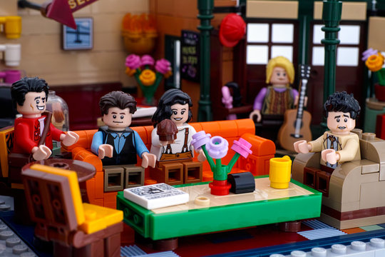 Tambov, Russian Federation - January 03, 2020 Lego Central Perk cafe main seating area with Lego minifigures of Ross, Chandler, Monica, Joey, Phoebe.