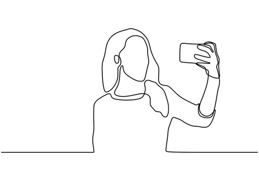 Girl take selfie continuous one line drawing. Vector minimalism hand drawn.