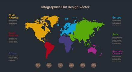 Infographics World maps with individual continents and labels with names, on a dark background vector