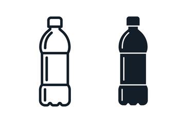 Fototapeta Plastic bottle black icon set. Vector flat style sign illustration