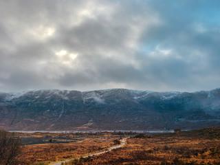 Aluminium Prints Dark grey Amazing landscape with mountains, Highlands.