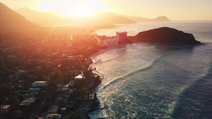 Wall Mural - Aerial view of the west coast of the island of Oahu during sunrise