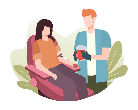 Woman donating her blood. Blood donation illustration