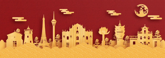 Wall Mural - Panorama postcard and travel poster of world famous landmarks of Macau, China in red and gold paper cut