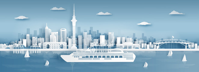 Fototapete - Panorama view of Auckland city skyline with world famous landmarks in paper cut style vector illustration