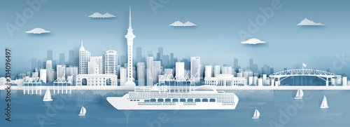 Fototapete Panorama view of Auckland city skyline with world famous landmarks in paper cut style vector illustration