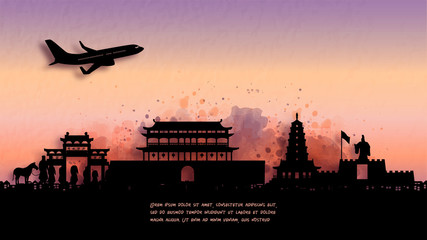 Fototapete - Watercolor of Xian, China  silhouette skyline and famous landmark. vector illustration.