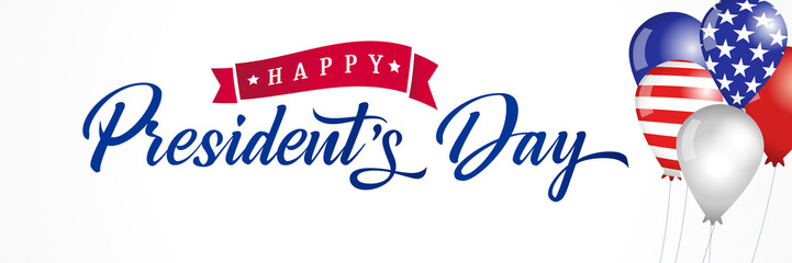Happy Presidents Day USA balloons and flags lettering banner. Vector illustration sale discount card or poster for President`s Day  Fotomurales