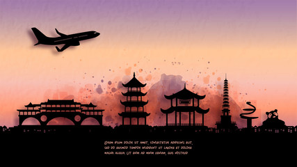 Fototapete - Watercolor of Chengdu, China silhouette skyline and famous landmark. vector illustration.