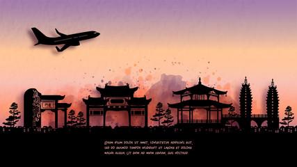 Fototapete - Watercolor of Kunming, China  silhouette skyline and famous landmark. vector illustration.