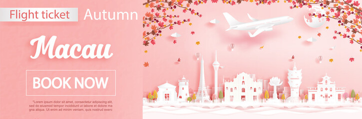 Fototapete - Flight and ticket advertising template with travel concept to Macau, China in autumn season deal with falling maple leaves and famous landmarks in paper cut style vector illustration