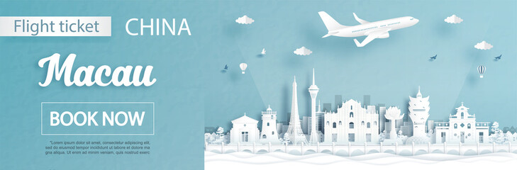 Fototapete - Flight and ticket advertising template with travel to Macau, China concept and famous landmarks in paper cut style vector illustration