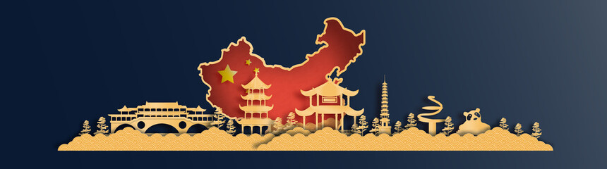 Fototapete - China map with Chengdu skyline, world famous landmarks in paper cut style vector illustration