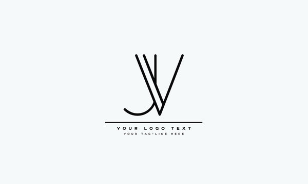 JV ,VJ ,J ,V Letter Logo Design with Creative Modern Trendy Typography