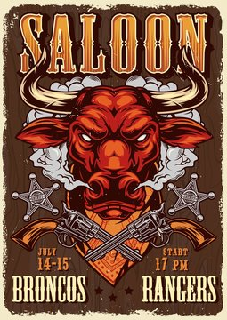 Wild west saloon advertising poster