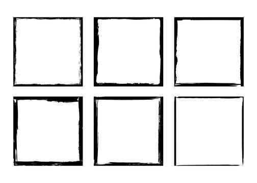 Vector illustration. Set of frames in grunge style. Dirty frame with a splash of black paint. Transparent background. Design elements for banner, poster, flyer, invitation, card, social networks.