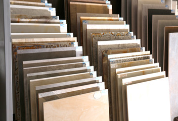 Various ceramic tile samples in store. Total wholesale