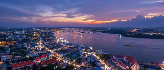 Poster Bangkok Night cityscapes, High angle view of the Chao Phraya River importance transportation of Bangkok, Thailand
