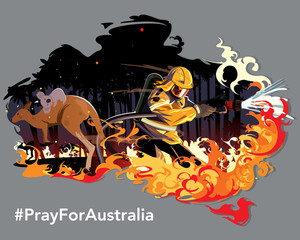 Kangaroo running from wild fire burning. Brave Australian fire man try to stop wild fire with text Pray for Australia  Vector and Illustrator.