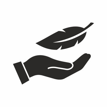 Feather in hand icon. Vector icon isolated on white background.