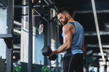 Wall Mural - Handsome athlete training arms with dumbbells at gym