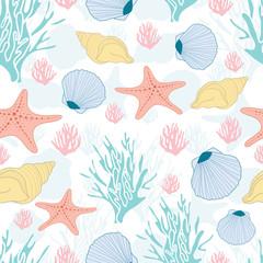 Seamless nautical pattern with seashells, coral, and starfish