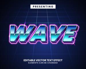 Fototapeta 3d Retrowave futuristic editable text effect obraz
